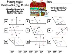 Christmas Math.Missing Angles Christmas Math Activity Message Decoder