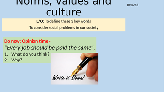 Lesson 1 or 2: Norms, values and culture