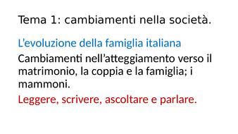 Italian A level Famiglia amicizia matrimonio donne e uomini
