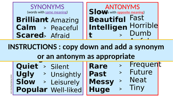 Synonyms & Antonyms Starter for Languages