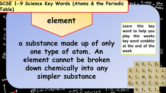 atomic structure periodic table key words 8