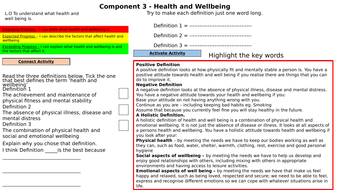 Health and well being lesson Component 3 BTEC H&SC