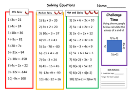Solving Equations Differentiated Worksheet w/ Answers