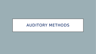 study skills - auditory