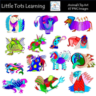 Colorful Animal Clipart, Otomi Clipart , Otomi Animals, Mexican Clipart Animals,Folk Graphics