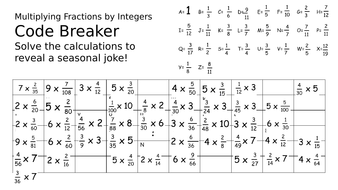 Bonfire night themed multiplying fractions by integers code