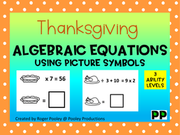 Thanksgiving Algebra Equations, teacher notes, answers, 9 pgs, no Prep