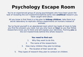 Psychology 'Escape Room' -  Revision / Exam