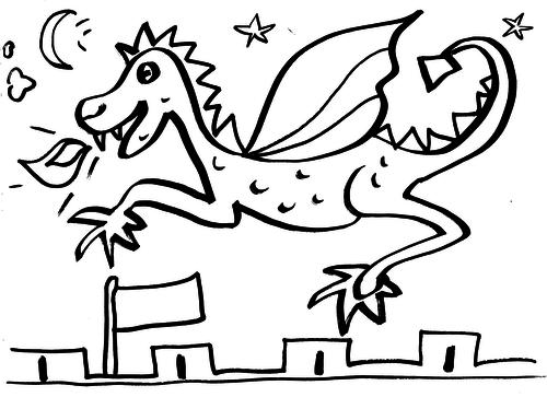 Dragon + Castle Turrets Colouring Sheet