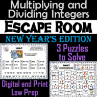 Multiplying and Dividing Integers Game: Escape Room New Year's Math Activity