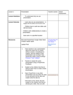 Detailed Year 2/ 3 Microsoft Presentation unit of work