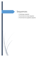 GCSE Mathematics 9-1: Sequences: Continuing a sequence, using the nth term and finding the nth term