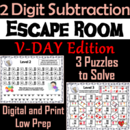 Double Digit Subtraction With and Without Regrouping Valentine's Day Escape Room