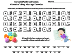 Double Digit Subtraction Valentine's Day Math Activity: Message Decoder