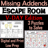 Missing Addends Addition and Subtraction: Valentine's Day Escape Room Math