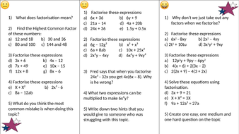 Factorising/factorisation differentiated worksheet by wrighte ...