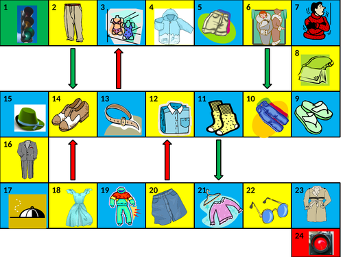 Clothing Game Board PowerPoint