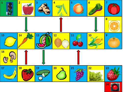 Fruits and Vegetables Game Board PowerPoint
