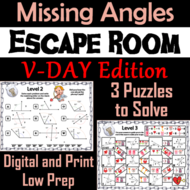 Solving For Missing Angles Geometry Escape Room Valentines Day