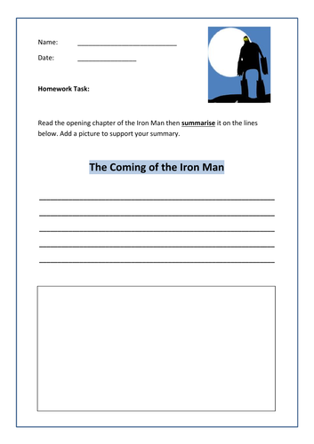 Iron Man - Summarise each chapter (writing task)