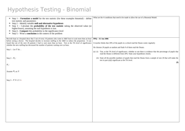 Binomial Hypothesis Tests