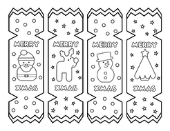 Christmas Cracker Bookmarks Colouring Activity Teaching Resources