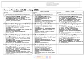 Language B - Paper 1 (2020 spec)- Written Assessment Criteria - Teacher and Student Friendly SL+HL