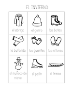 SPANISH WINTER VOCABULARY HANDOUT - Trace the words and color the pictures