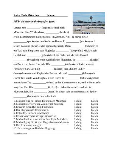 German Simple Past / Imperfekt Worksheet: Reise Nach München (SUB PLAN)