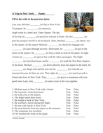 English Past Tense Worksheet: A Trip to New York (Travel / Airport) ESL / EFL