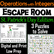 Operations with Integers Game: Escape Room St. Patrick's Day Math Activity