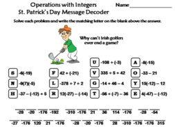 Operations with Integers St. Patrick's Day Math Activity: Message Decoder