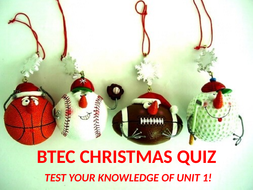 L3 BTEC Christmas Anatomy and Physiology Quiz
