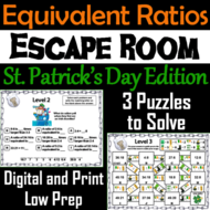 Equivalent Ratios Game: Escape Room St. Patrick's Day Math Activity