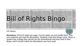 Bill of Rights Bingo