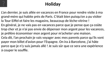 French - GCSE - Listening practice - Holidays (worksheet, recording + ANSWERS)