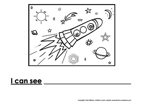 Rocket Writing + Colouring Sheet - 1 line