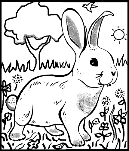 Rabbit Colouring Sheet