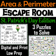 Area and Perimeter Game: Geometry Escape Room St. Patrick's Day Math Activity