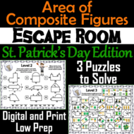 Area of Composite Figures: Geometry Escape Room St. Patrick's Day Math Activity
