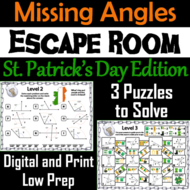 Solving for Missing Angles: Geometry Escape Room St. Patricks Day Math Activity