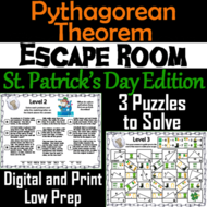 Pythagorean Theorem Game: Geometry Escape Room St. Patrick's Day Math Activity