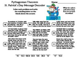 Pythagorean Theorem St. Patrick's Day Math Activity: Message Decoder