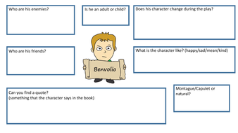 Romeo And Juliet Character Work Sheets