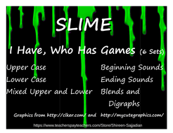 I Have Who Has Games Slime Theme Phonics Letters Beginning Ending Sounds  Blends