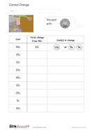 Calculate the Correct Change Worksheet - Measurement KS1