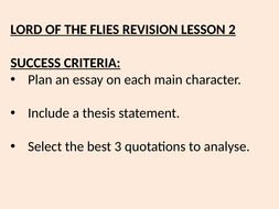 whats a good thesis statement for lord of the flies