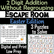 Double Digit Addition Without Regrouping Game: Easter Escape Room Math