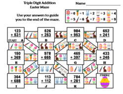 Triple Digit Addition With Regrouping Easter Math Maze