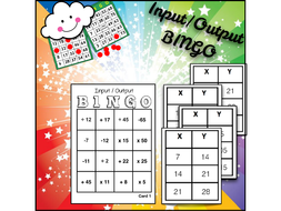 Math BINGO: Find the Rule --Input/Output Charts